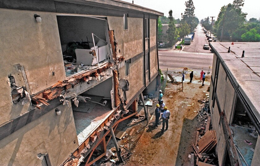 An apartment complex that collapsed in the 1994 Northridge earthquake.