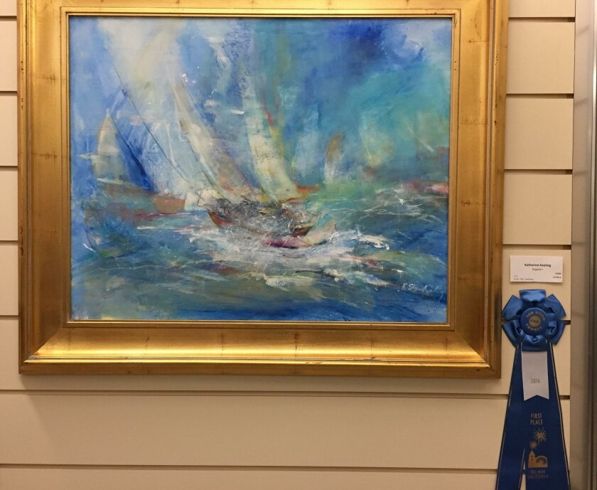 La Jolla artist Katherine Keeling's piece 'Regatta I' was among the first-place winners at the 2016 San Diego County Fair's fine-art exhibition.