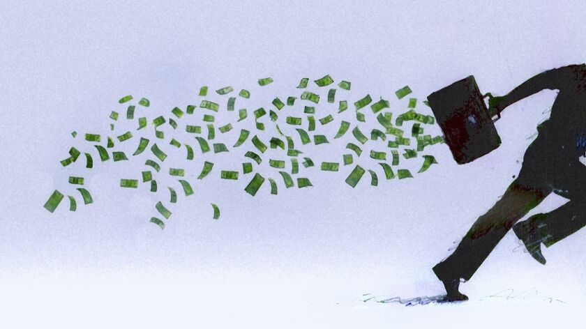 Money falling from briefcase of running businessman