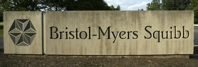 In this 2005 file photo, a sign stands in front of the Bristol-Myers Squibb Company's headquarters in Lawrence Township, N.J.