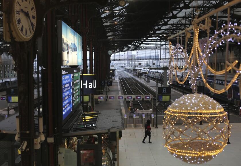 The Gare de Lyon train station in Paris was deserted Dec. 6.