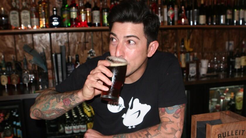 Mason Ale Works brewer, Jason De La Torre, enjoying a Charley Hustle.