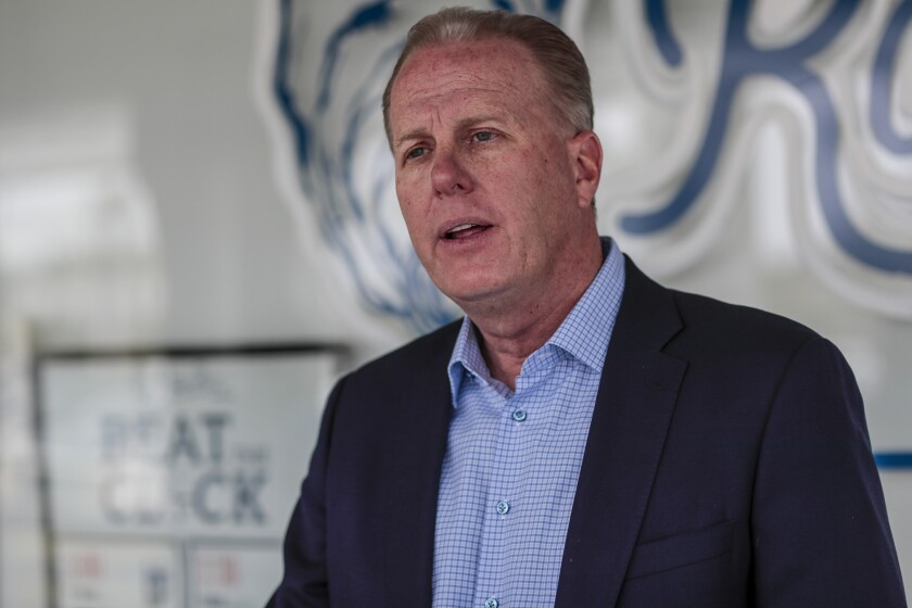 Former San Diego Mayor Kevin Faulconer campaigns for Governor of California at Slapfish restaurant on April 24.