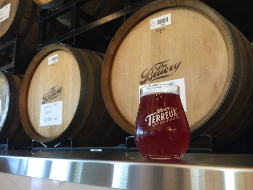 A glass of beer at the newly opened Anaheim tasting room Bruery Terreux.