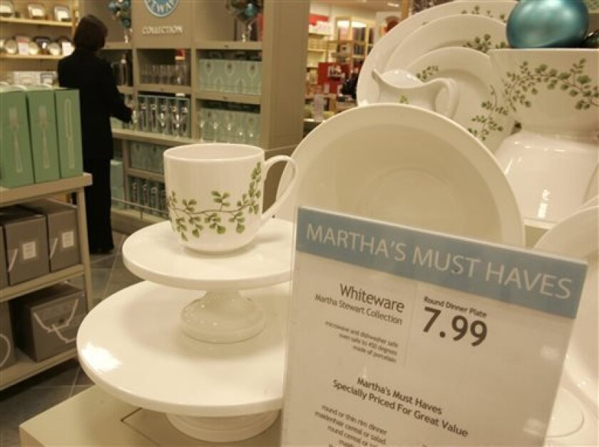 FILE - Martha Stewart products are displayed in the Macy's store at the Kenwood Towne Centre, in this Nov. 7, 2007 file photo taken in Cincinnati. Attorneys for J.C. Penney and Macy's are set to be back in court Thursday Aug. 1, 2013 after a three-month break to present closing arguments in a contract dispute over a partnership with the Martha Stewart brand. The case centers on whether Macy's Inc. has exclusive rights to sell certain merchandise, including bath items and kitchenware. (AP Photo/