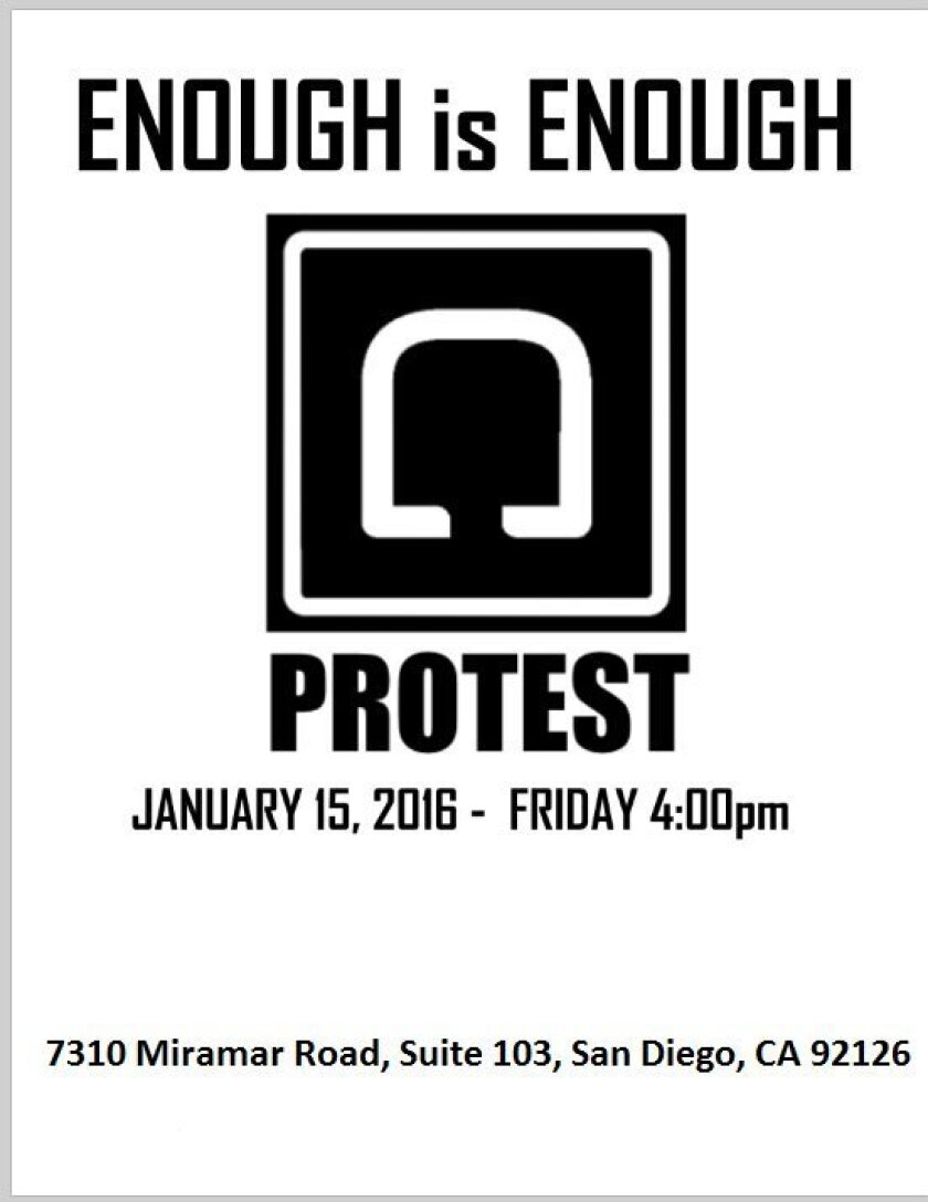 A flier promotes a driver protest at Uber's Partner Support Center on Friday.