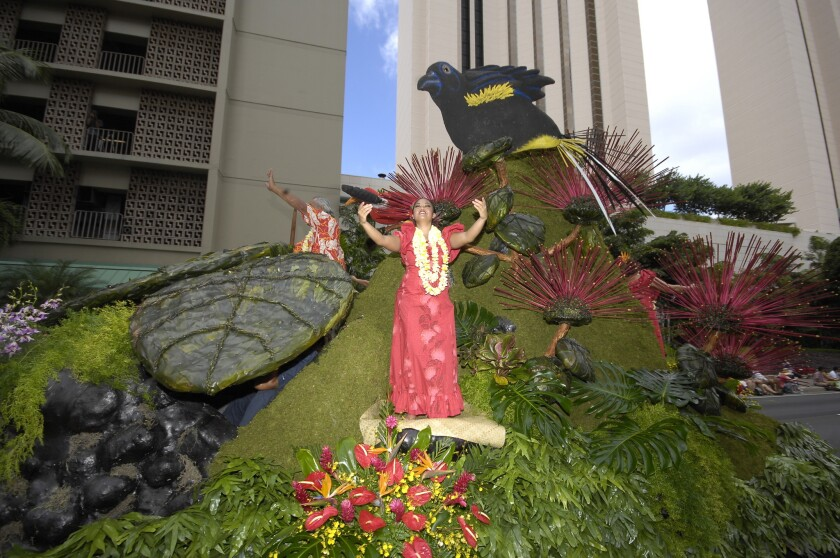 Colorful floats made of Hawaiian flowers are a highlight of the Aloha Festivals' annual floral parade.