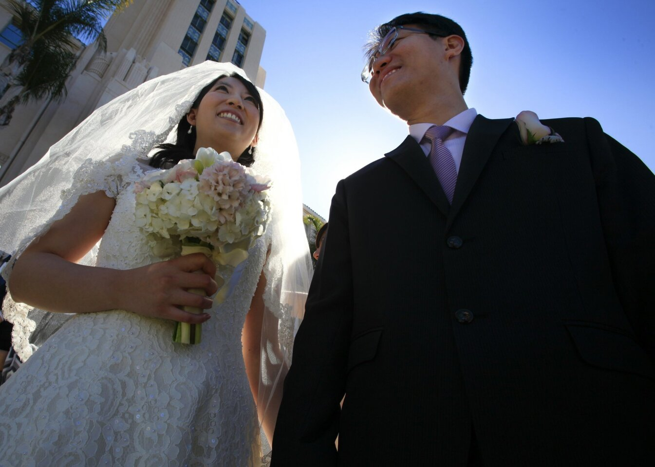 The wedding of Jasmine Chang and Chihming Tsai  was one of the nearly 200 Valentine's Day weddings performed at the San Diego County Administration Center.