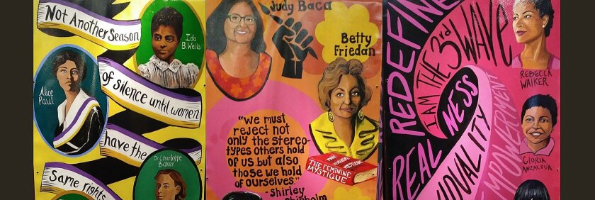 """""""Waves of Feminism"""" by artist Katie Ruiz is on the walls outside the Women's Museum of California at Liberty Station."""