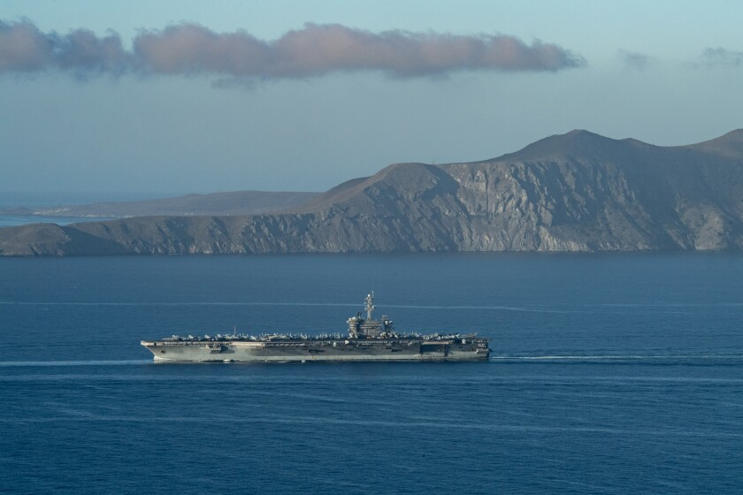 PACIFIC OCEAN (Dec. 18, 2020) – The aircraft carrier USS Theodore Roosevelt transits the Pacific Ocean Dec. 18, 2020.