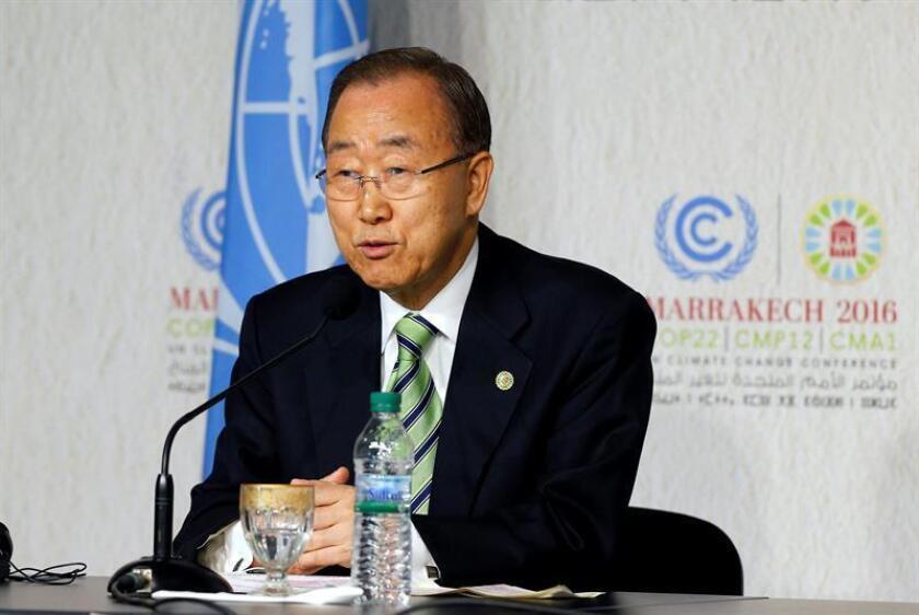 El secretario general de Naciones Unidas Ban Ki-moon durante la rueda de prensa. EFE/Archivo