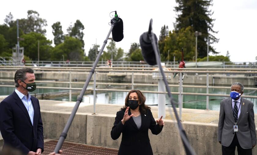 Vice President Kamala Harris toured an Oakland water-treatment plant with Gov. Gavin Newsom Monday.