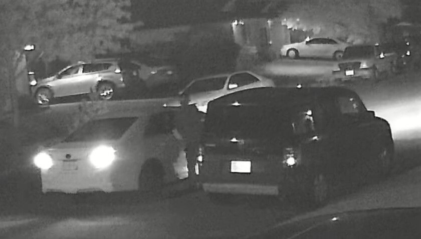 A Sept. 10 security video shows a thief in a white Subaru stealing a catalytic converter from a parked Honda in 50 seconds.