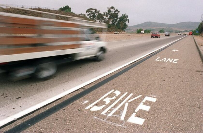 Traffic along the 23 Freeway in Thousand Oaks travels at an average speed of 70 miles per hour between Olsen Road and Tierra Rejada next to the bike lane.