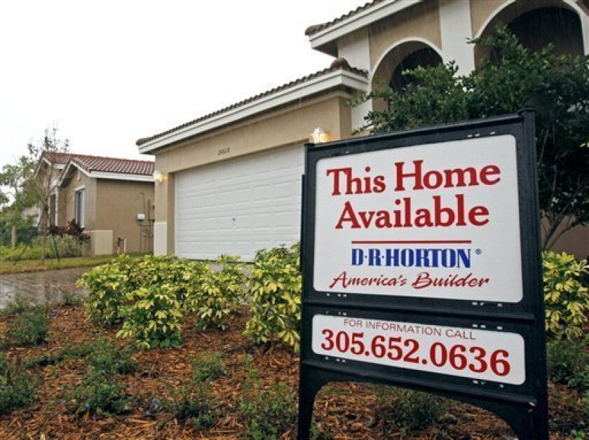 A new D.R. Horton home for sale in Miami Gardens, Fla., is shown Monday, Feb. 1, 2010. D.R. Horton Inc. said Tuesday, it made a first quarter profit of $192 million as the homebuilder benefited from a heavy tax gain.(AP Photo/Alan Diaz)