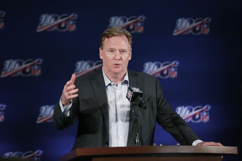 NFL Commissioner Roger Goodell speaks at a news conference.
