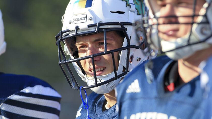 Karson Lippert (shown at an earlier practice) got LCC rolling with an early touchdown run Friday night.