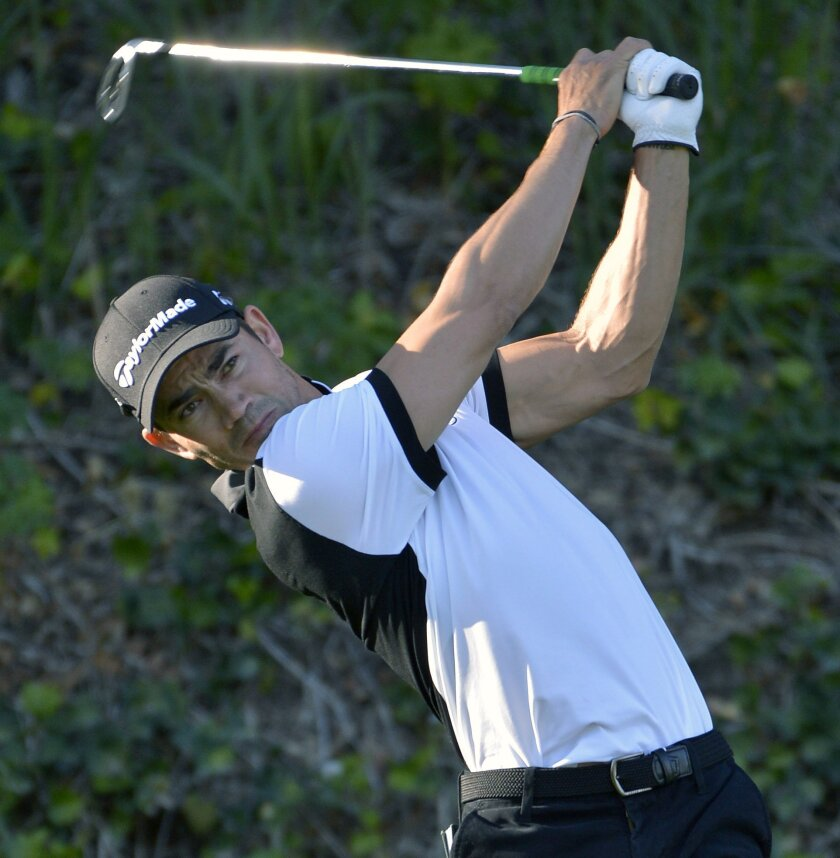 Camilo Villegas tees off on the sixth hole during the first round of the Northern Trust Open golf tournament, Thursday, Feb. 18, 2016 in Pacific Palisades, Calif. (John McCoy/Los Angeles Daily News via AP)  NO SALES; MAGS OUT; HILLS OUT, LOS ANGELES TIMES OUT; VENTURA COUNTY STAR OUT ANTELOPE VALLE