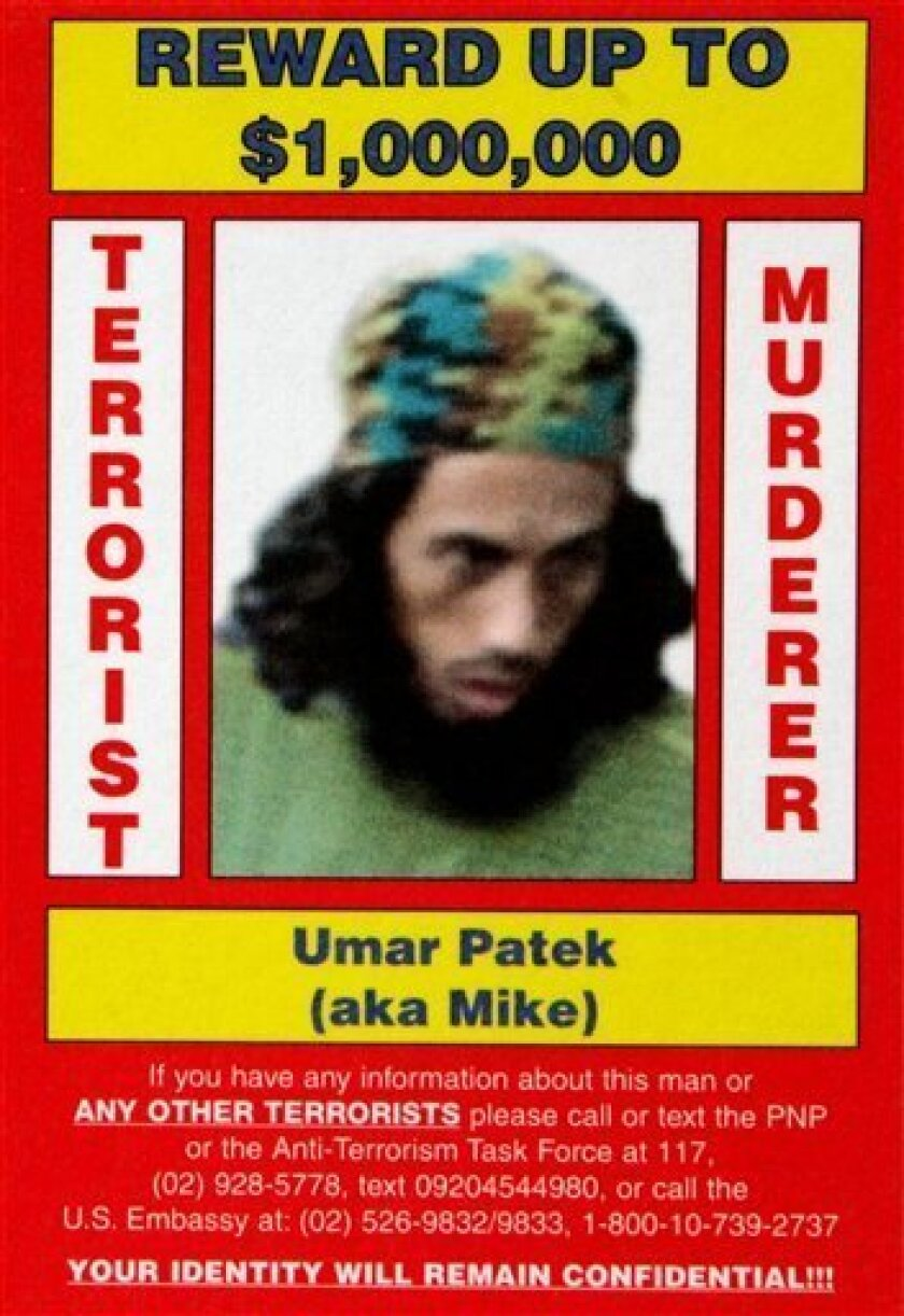 In this undated poster released by Philippine National Police and the US Rewards For Justice Program, shows Umar Patek.  Intelligence sources say top Indonesian terror suspect Umar Patek has been arrested in Pakistan. Patek is one of the main suspects in the 2002 Bali bombings that left 202 people