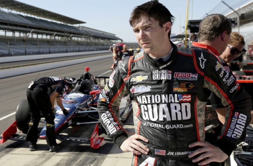 IndyCar driver JR Hildebrand looks down pit road during practice for the Indianapolis 500 last week.