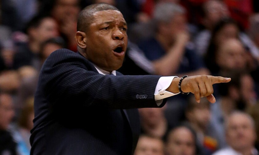 Clippers coach Doc Rivers instructs his players during a win over the Phoenix Suns.