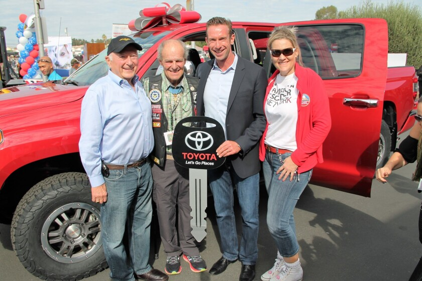 "From left, Toyota Senior Advisor Don Esmond, Congressional Medal of Honor recipient John Baca, Toyota Veterans Association president Michael Smith and American Soldier Network founder Annie Nelson at Forgotten Sons ""Ride to Live"" fundraising motorcycle ride at the Elks Lodge"