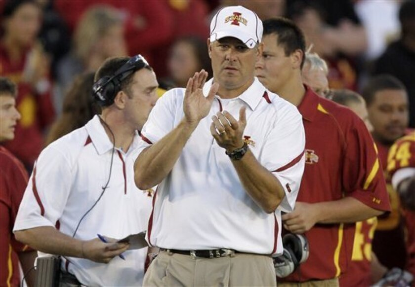 Iowa State coach Paul Rhoads applauds during the first half of an NCAA college football game against Northern Illinois, Thursday, Sept. 2, 2010, in Ames, Iowa. (AP Photo/Charlie Neibergall)