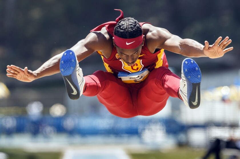 USC sophomore Adoree' Jackson competes in the men's long jump during the Trojans' dual meet against UCLA on May 1.