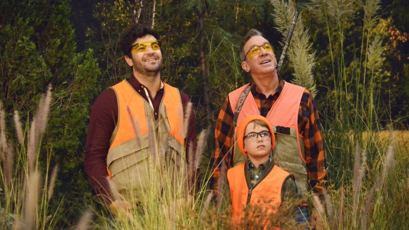 """Jordan Masterson, left, Flynn Morrison and Tim Allen in a 2016 episode of """"Last Man Standing,"""" which back then aired on ABC. The sitcom was picked up by Fox."""