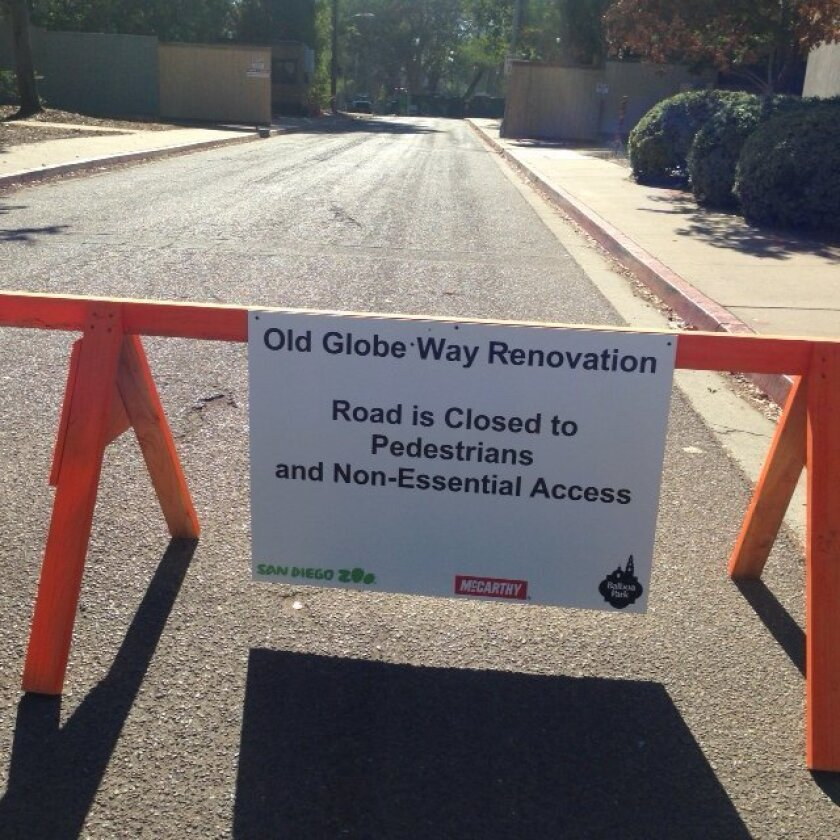 A construction barrier and sign signify change at Old Globe Way in Balboa Park.