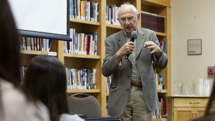 Holocaust survivor Jack Pariser speaks to Sage Hill School sophomore students from Kate Ball's Moder