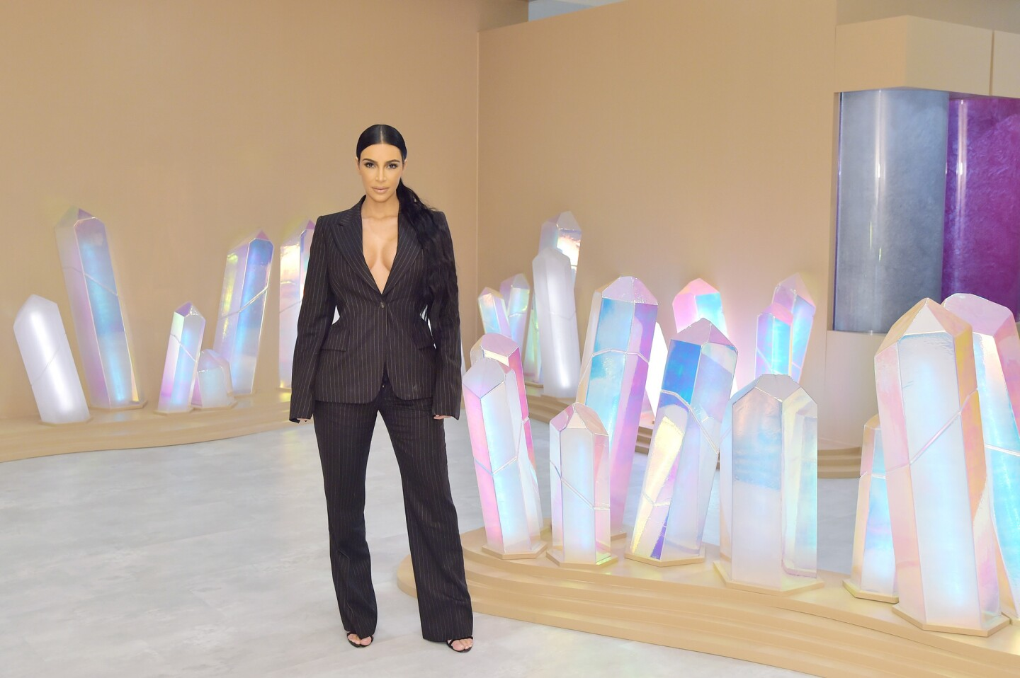 Kim Kardashian West attends the KKW Beauty and Fragrance pop-up at South Coast Plaza on Dec. 4, 2018, in Costa Mesa.