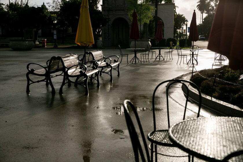 Seats were left empty in the Plaza de Panama in Balboa Park as the city shut down parking lots at parks and beaches to discourage people from gathering during the coronavirus outbreak on March 23, 2020 in San Diego, California.
