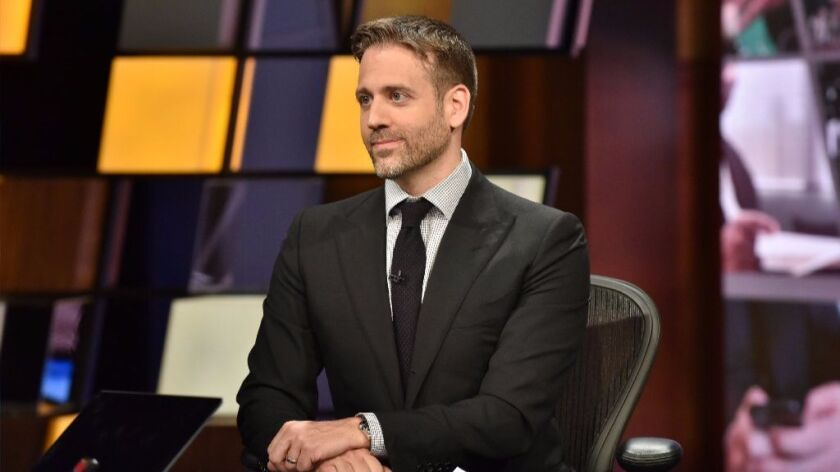 """Max Kellerman on the set of ESPN's """"First Take."""""""