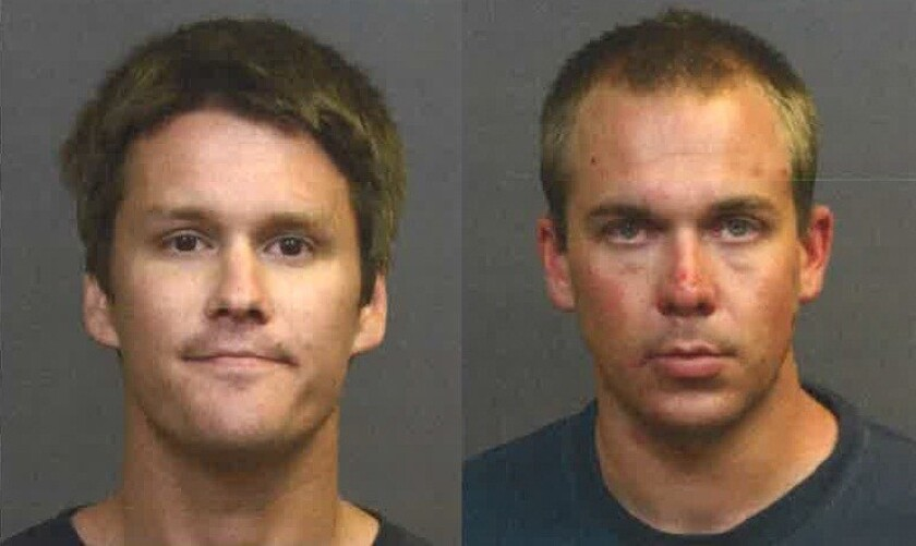 Colin Zborowski, 28, and Daniel Lubach, 27, were arrested this week on suspicion of smoking heroin in a Costa Mesa Chuck E. Cheese bathroom.