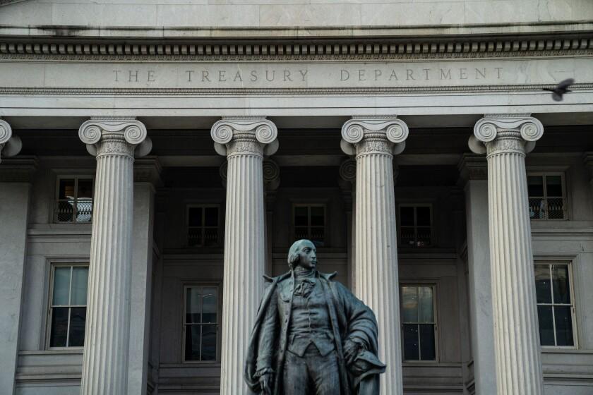 The U.S. Treasury Building, shown on July 16, in Washington, D.C.