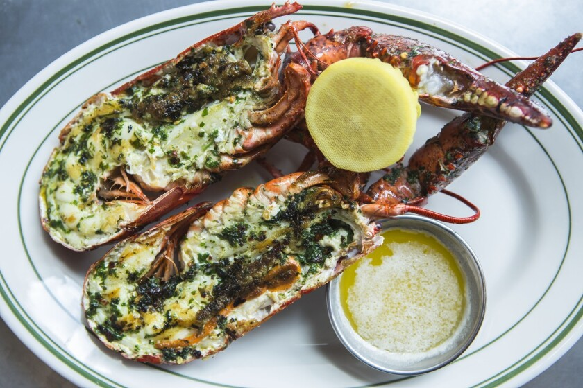 Grilled lobster with a herb marinade.