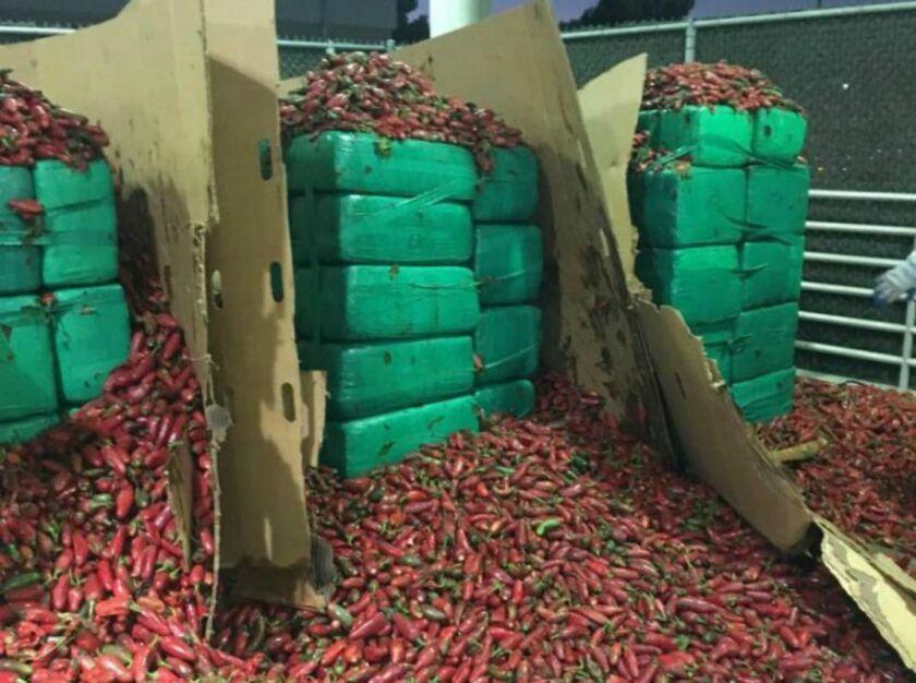 Imagen difundida por Oficina de Aduanas y Protección Fronteriza de Estados Unidos: se observan casi 4 toneladas de marihuana incautadas en Otay Mesa, California.