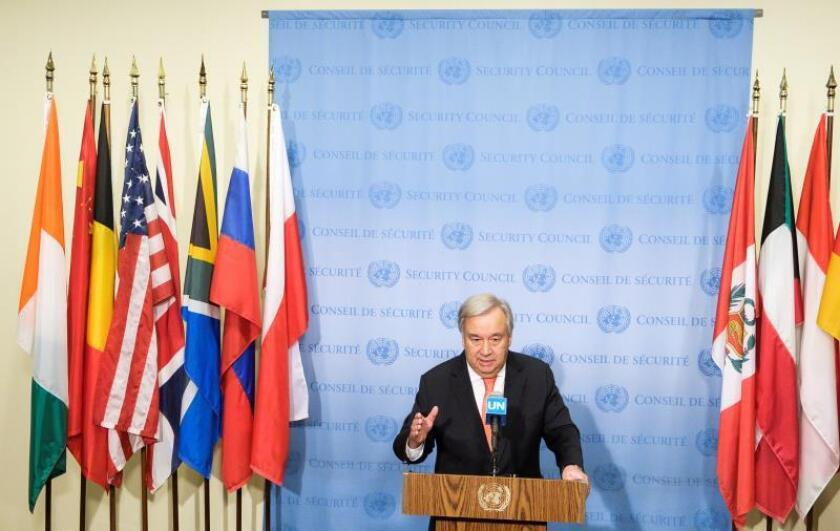 United Nations Secretary-General Antonio Guterres holds a press briefing outside of the UN Security Council chambers at United Nations headquarters in New York, New York, USA, 01 August 2019. EFE/EPA/Justin Lane