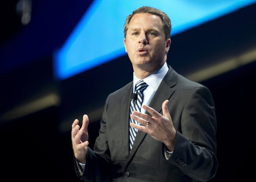 Doug McMillon, President and CEO of Wal-Mart Stores Inc., speaks during the annual Wal-Mart Shareholders meeting in Fayetteville, Ark., Friday June 6, 2014. The meeting drew about 14,000 people, including its workers from around the globe. (AP Photo/Sarah Bentham)