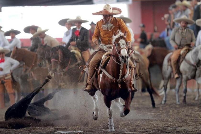 Fotografía del 1 de octubre de 2016 que muestra a la realización de las tradicionales suertes charras en el estado de Hidalgo (México). EFE