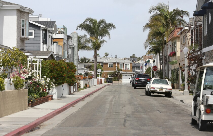 A view looking down 38th street on Newport Island.