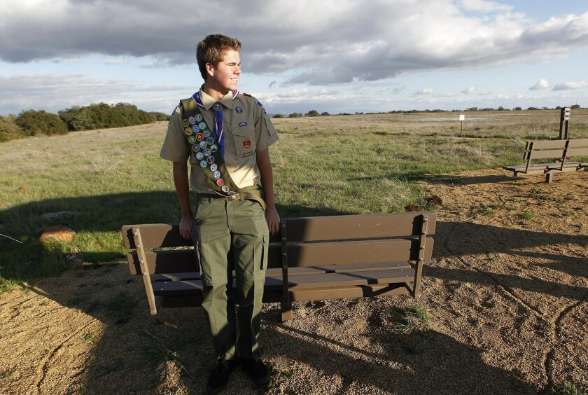 Patrick Furlong, of Murrieta, earned his Eagle Scout rank by making these benches and putting in a fence along a trail at the Santa Rosa Plateau Ecological Reserve.