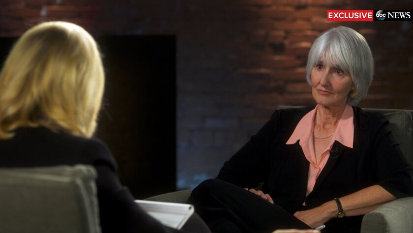 """In this undated image provided by ABC News, television anchor Diane Sawyer, left, interviews Sue Klebold, right, the mother of Columbine High School shooter Dylan Klebold on """"20/20,"""" in Denver.  The special edition exclusive interview aired Friday, Feb. 12, 2016. (ABC News via AP)"""