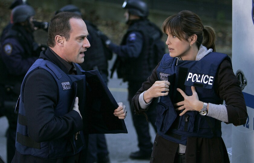"Christopher Meloni and Mariska Hargitay in an episode of ""Law & Order: SVU"""