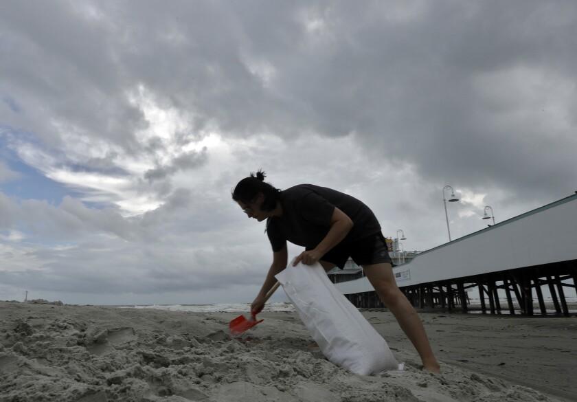 Miroslava Roznovjakova llena bolsas de arena en la playa frente a su tienda en Daytona Beach, Florida, anticipando el arribo del huracán Matthew, que alcanzó la categoría 4. (AP Foto/Chris O'Meara)