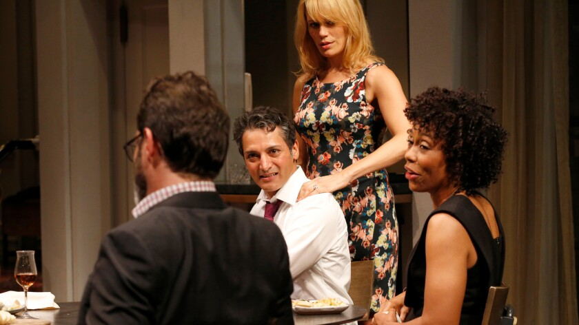 """Amir and Emily (Hari Dhillon and Emily Swallow, center) host a dinner party with Isaac and Jory (J. Anthony Crane and Karen Pittman) in """"Disgraced"""" at the Mark Taper Forum."""