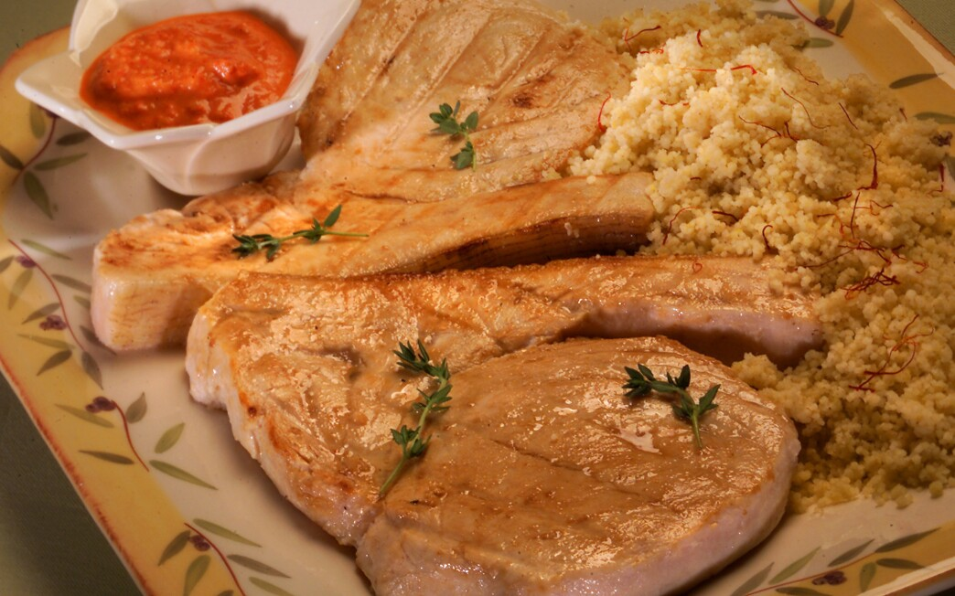 Swordfish with romesco sauce