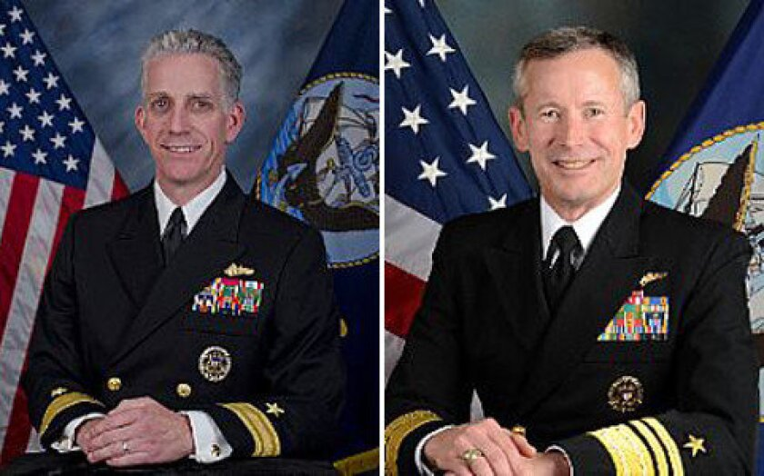 U.S. Navy Rear Adm. Bruce Loveless, left, and Vice Adm. Ted Branch are under investigation.