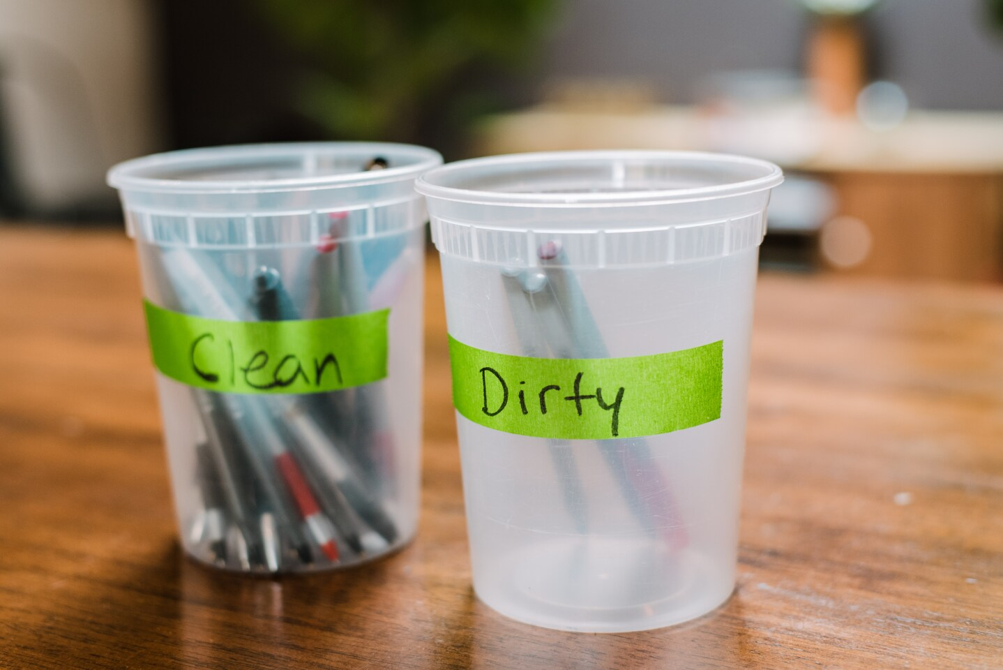 Sterilized pens are cleaned after every use at Donna Jean vegan restaurant in Bankers Hill.